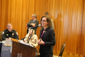Oregon Gov. Kate Brown addresses her Council on Wildfire Response at a meeting Thursday, Sept. 26, 2019.