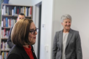 Oregon Gov. Kate Brown (left, foreground) was among the state and local officials on hand to tour Oregon State University-Cascades and celebrate funding for a new building, in April 2018. She was joined by vice president Becky Johnson (right, background).