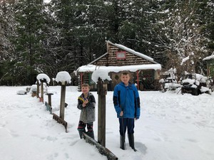 Lukas and Benjamin Ruocco are learning to live without electricity at the Tired Dog Ranch in Westfir.
