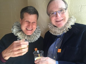 Microsoft co-founder Paul Allen (right) was not above cutting up with Oregon Shakespeare Festival Artistic Director Bill Rauch in 2016, in tribute to the 400th anniversary of Shakespeare's death.