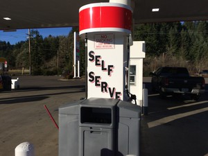 Signs like this are a rarity in Oregon. This station is operated by the Confederated Tribes of Grande Ronde.