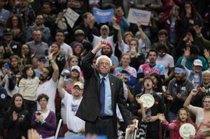Bernie Sanders raises his fist at his Portland rally on Friday, March 25, 2016.