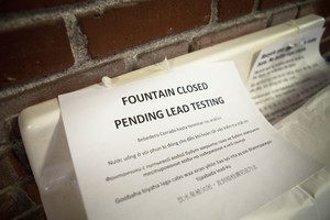 A drinking fountain at Rose City Park school is closed.