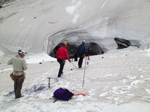 OPB's Oregon Field Guide TV crews are preparing a program on glacier caves at Mount St. Helens.
