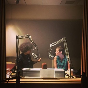 Majora Carter (left) and Ashley Ahearn in an interview booth at KUOW Public Radio in Seattle.