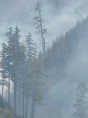 The Stouts Creek Fire filled air with smoke on Thursday morning.