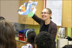 Caitlin Shelman teaching a 5th grade Spanish immersion class at Bridger Elementary School in 2012.