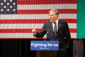 Washington Gov. Jay Inslee endorses Hillary Clinton. Former President Bill Clinton rallied for Hillary at Clark College in Vancouver, Washington, on March 21, 2016.