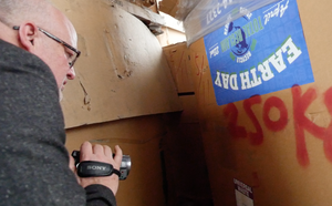 Jim Puckett discovers boxes bearing Total Reclaim's logos in an e-waste dismantling facility in rural Hong Kong.