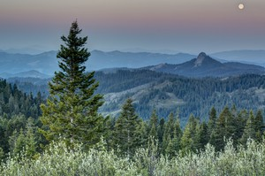 This view from the Pacific Crest Trail in the Cascade-Siskiyou National Monument includes the sun, moon, Mount Shasta and Pilot Rock.