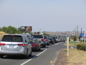 Traffic on Highway 26 near Madras, Oregon, is often at a standstill as people continue arriving ahead of the total solar eclipse on Monday, Aug. 21, 2017.