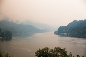Smoke from the Eagle Creek and Indian Creek wildfires clouds the Columbia River Gorge Monday, Sept. 4, 2017.