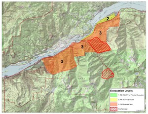 A large stretch of the Columbia River Gorge from Cascade Locks to Warendaleis under a Level 3 evacuation notice — meaning leave now — as of 8 p.m. Monday, Sept. 4, 2017.