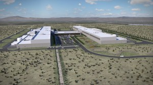 An artist's rendering of the two new Facebook data centers planned for Prineville, Oregon.