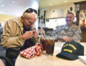 Spurgeon D. Keeth, left, Clatsop County's last living survivor of the attack on Pearl Harbor, died Thursday.