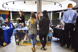 EOU regional adviser Wendy Sorey speaks to Umatilla seniors at a job fair in Boardman, Oregon.