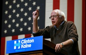 Sen. Bernie Sanders, I-Vt., gestures while campaigning for Democratic presidential candidate Hillary Clinton at Keene State College in Keene, N.H., Friday, Oct. 7, 2016.