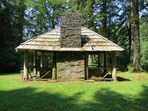 Volunteers will be replacing log beams, replacing roof shakes and rehabilitating the stonework at the historic Hebo Lake Campground community kitchen.