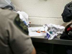 Deputies find needles and drug paraphernalia on an incoming detainee at the Marion County Jail on Friday, June 23, 2017.