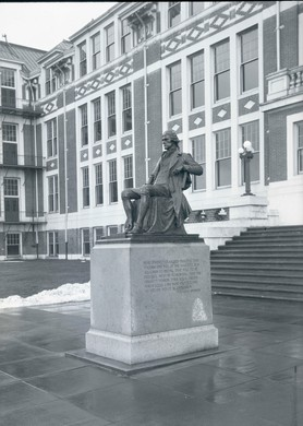 The Thomas Jefferson statue at Jefferson High School, circa 1923-1936.