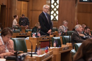 File photo of state Rep. Carl Wilson, R-Grants Pass, on the Oregon House floor.