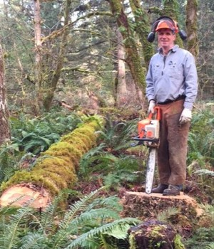 Peter Hayes manages Hyla Woods in the Oregon Coast Range. Hayes tries to manage his forest in a sustainable fashion.