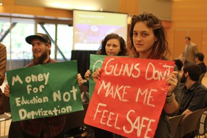 Members of the Portland State University Student Union at the PSU Campus Safety Forum.