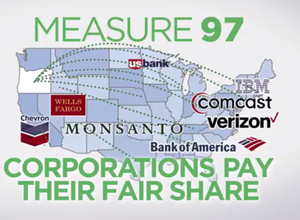 """An online ad produced by the """"Yes on Measure 97"""" campaign lists out-of-state corporations whose taxes would go up if the initiative passed."""
