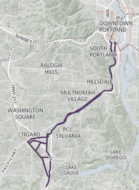Planners published a map in October 2016 of possible alternative routes for the proposed Southwest Corridor light rail line from Portland to Tualatin.