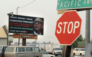 A billboard on North Pacific Highway in Medford, Oregon, takes Republican Rep. Greg Walden to task for his position on net neutrality.
