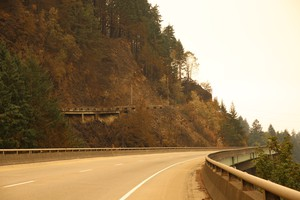 An empty Interstate 84 during the Eagle Creek Fire, Thursday, Sept. 14, 2017.