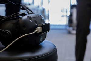 The HTC Vive headset used during a VR for pain management demo at Providence Gresham Rehab and Sports Therapy clinic.