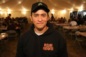 Crew boss Oscar Miranda at at the Taylor Creek Fire incident command post in Merlin.