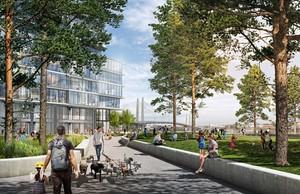 Architects' rendering of Zidell Yards, a new development in Southwest Portland thatwill include space for the arts.