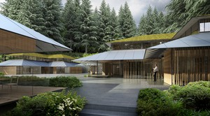 Renderings of the new Cultural Village currently under construction at the Japanese Garden. It's being designed by the star Japanese architect Kengo Kuma. It's his first project in America.