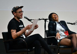 Tommy Pico (left) and Morgan Parker (right) onstage at Wordstock 2017.