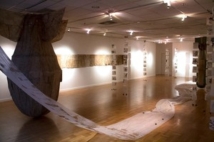 """Elements of """"Suspended Moment"""", including Yukiyo Kawano's bomb sculptures, were on view at PSU's Littman White Gallery in 2016."""