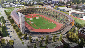 The University of Oregon has released a new artist's rendering of its Hayward Field design, which shows a relocated Oregon Tower and a more open north side to the stadium.