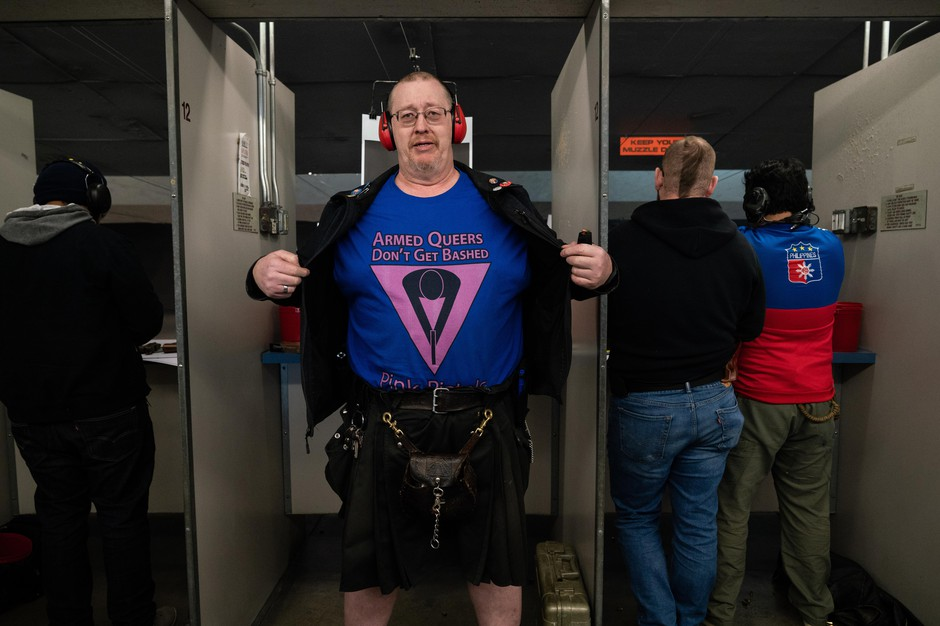 L.A. Watson-Haley shows off his new T-shirt at The Liberal Gun Club's winter range day on Jan. 26, 2019 in Portland, Ore.