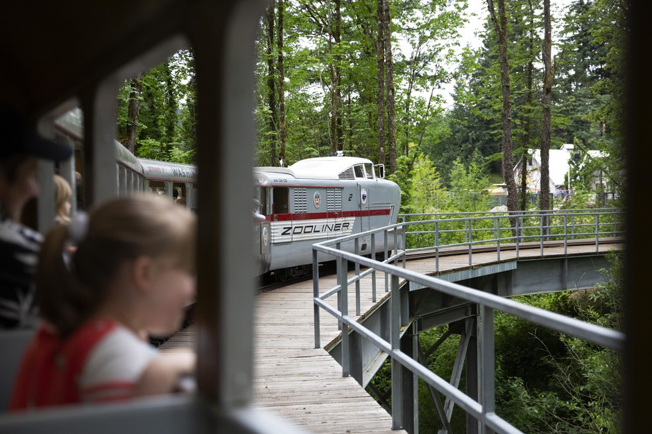 The Oregon Zoo train now runs a roughly six-minute route through zoo grounds.