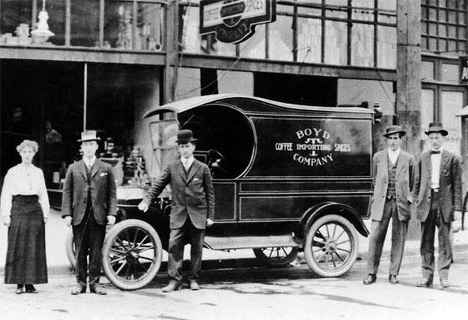 Boyd's was started in Portland by P.D. Boyd, who delivered coffee to customers from a red delivery wagon. Today the company sells to hotels, restaurants and grocery stores, and has a retail store online and at its Gresham roastery. Boyd's original storefront was located at 423½ Morrison Street in Portland.