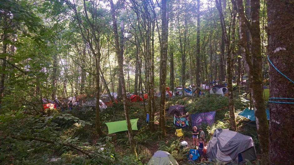 Campers hang out by their tents at Pickathon, Aug. 3, 2018.