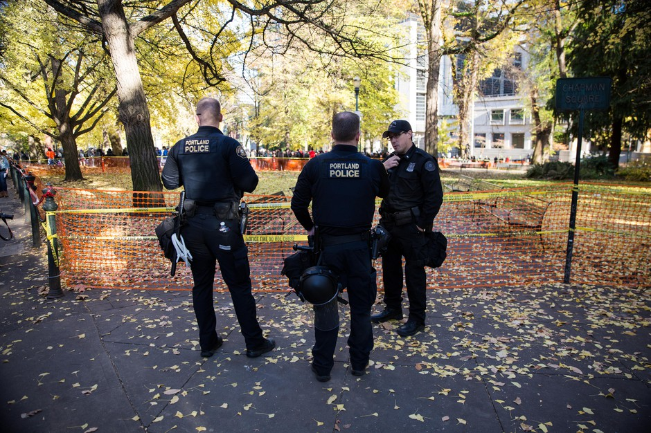 Portland police closed one block of Chapman Square Park in an effort to keep opposing protests apart.