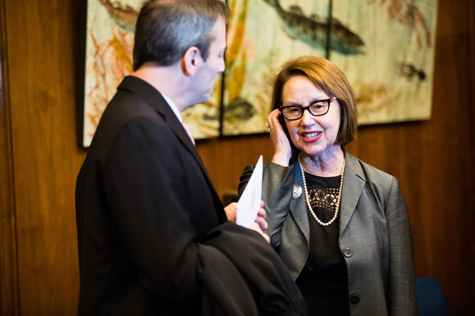 Oregon Attorney General Ellen Rosenblum waits for the start of Oregon Gov. Kate Brown's inaugural address at the state Capitol in Salem, Ore., Monday, Jan. 14, 2019.