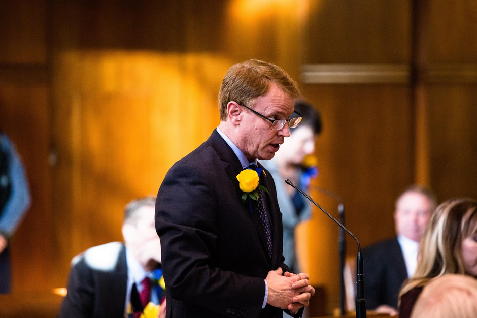Oregon state Sen. Tim Knopp, R-Bend, speaks on the floor of the Senate on Monday, Jan. 14, 2019, at the Oregon Capitol in Salem, Ore.