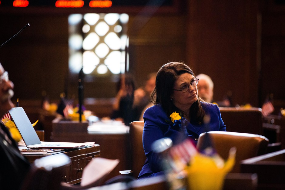 State Sen. Sara Gelser, D-Corvallis, listens to arguments on the floor of the Oregon Senate on Monday, Jan. 14, 2019.