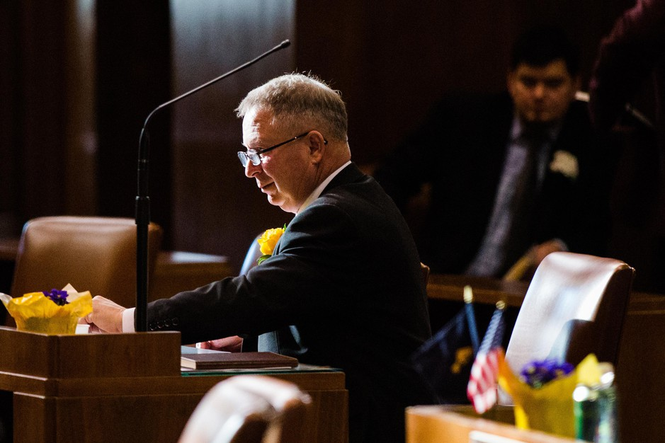 State Sen. Herman E. Baertschiger Jr., R-Grants Pass, in the Oregon Senate on Monday, Jan. 14, 2019, in Salem, Ore.