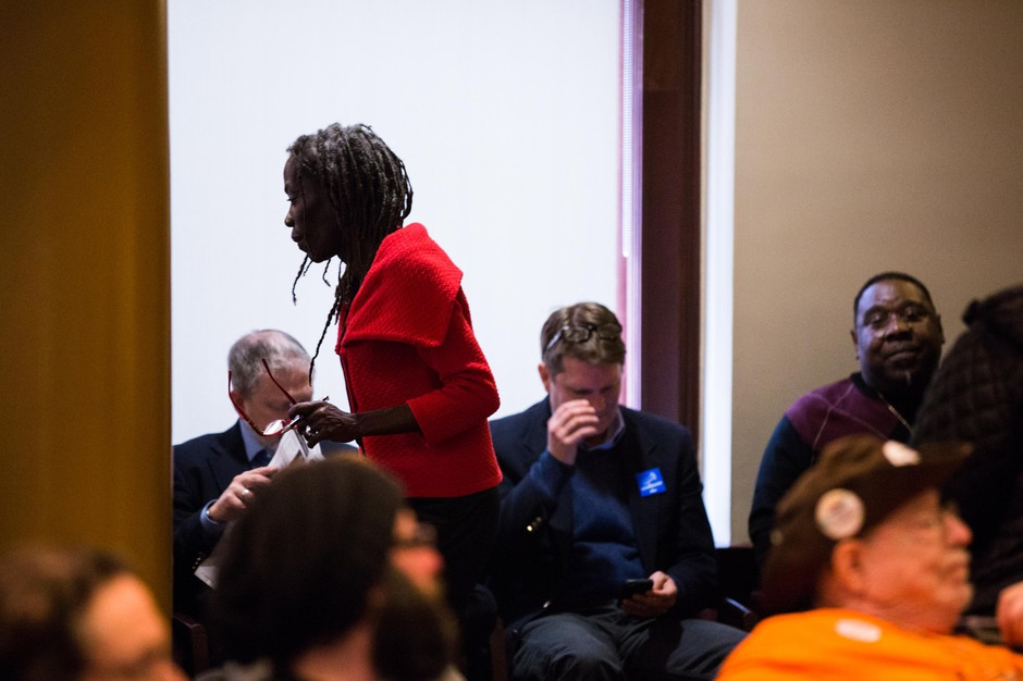 Commissioner Jo Ann Hardesty greets supporters at City Hall in Portland, Ore., Wednesday, Feb. 13, 2019.