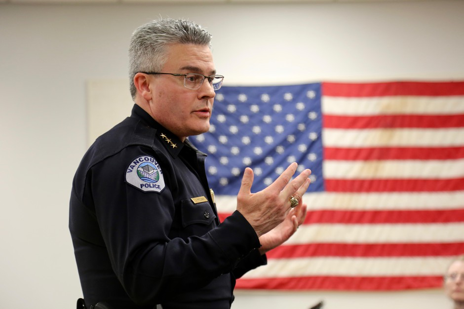 Vancouver Police Chief James McElvain speaks Monday, March 18, 2019, in Vancouver, Wash.