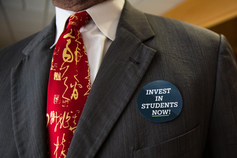 Supporters for a $1 billion plan for public schools attended a Joint Committee on Student Success hearing in at the Oregon Capitol in Salem, Ore., Thursday, April 11, 2019.